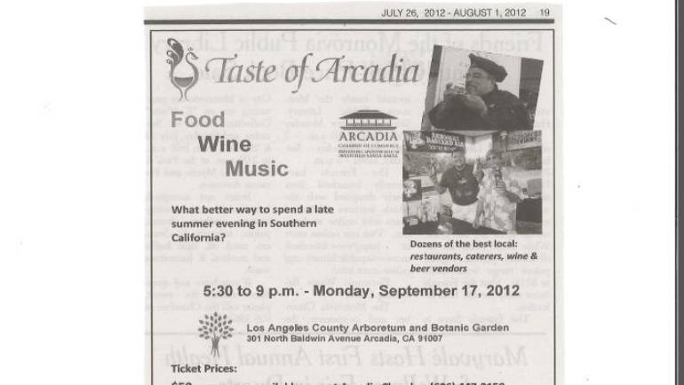 Arcadia Weekly: Taste ad July 26, 2012…