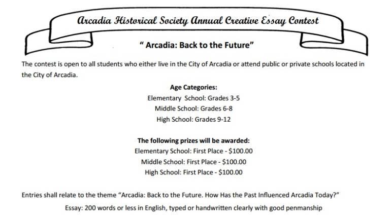 Arcadia Historical Society Creative Essay Contest at the Book Rack