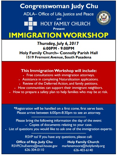 Congresswoman Judy Chu Immigration Workshop