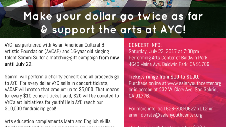 Sammi Su in concert to support Asian Youth Center