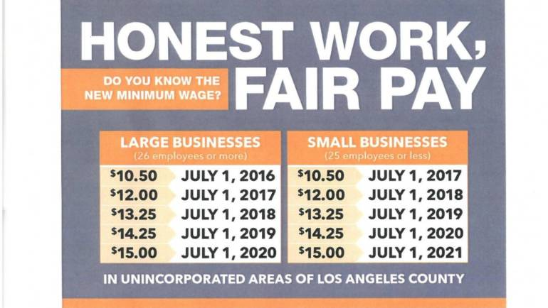 Wage Increase info for Unincorporated LA County