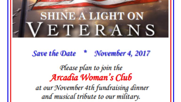 Save the Date: Arcadia Woman's Club Shine a Light on Veterans