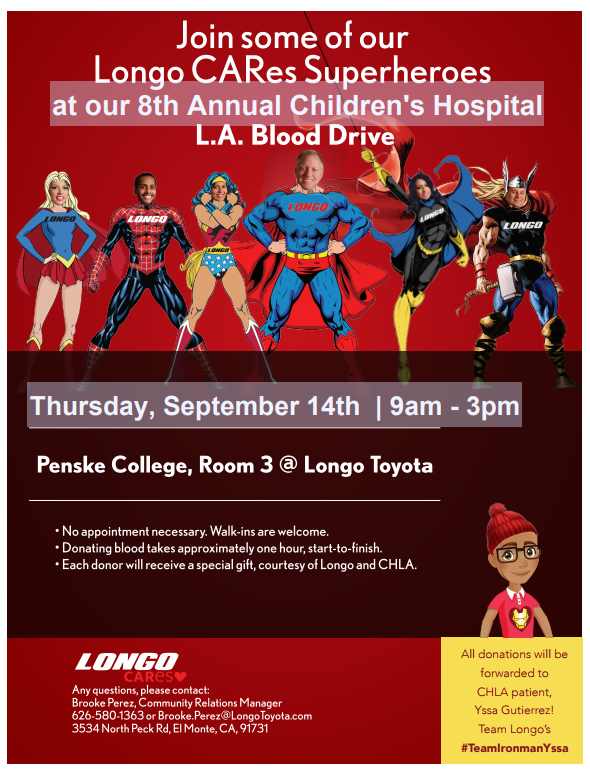 Longo CARes 8th Annual Children's Hospital L.A. Blood Drive