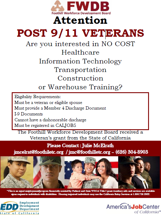 Post 9/11 Veterans Healthcare with Foothill Workforce Development Board