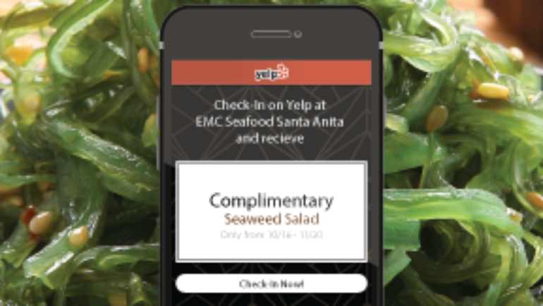 Check-in on Yelp for free Seafood Salad at EMC