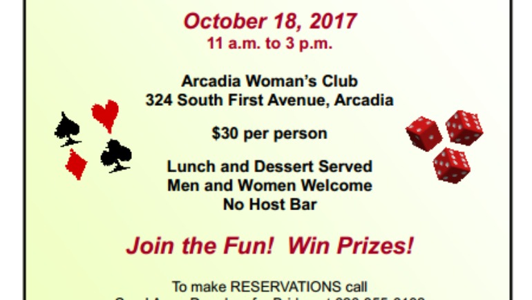 Bridge and Bunco at the Arcadia Woman's Club