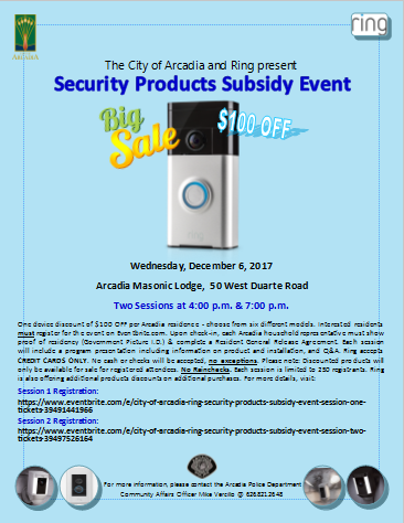 City of Arcadia and Ring present Security Products Subsidy Event