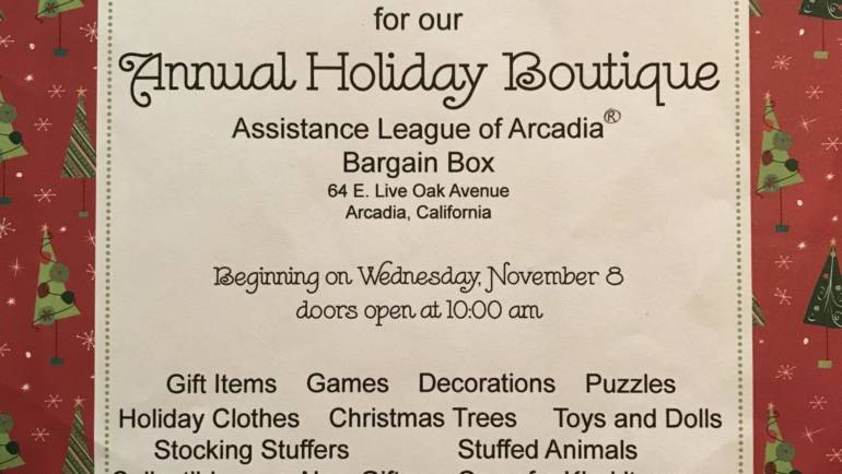 Assistance League Bargain Box Holiday Boutique ends Saturday