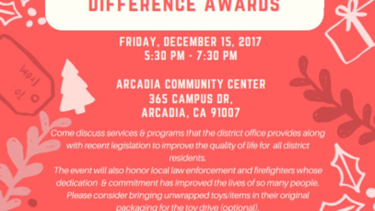 Assemblymember Chau Toy Drive & Make a Difference Awards