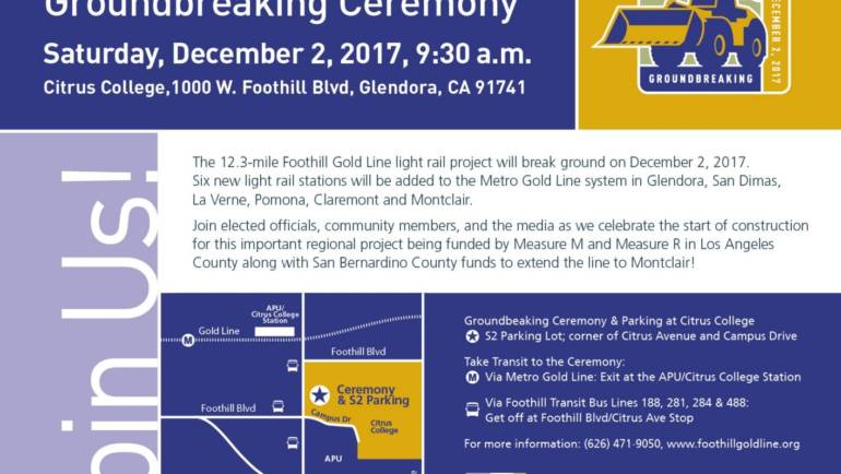 Foothill Gold Line Extension Groundbreaking