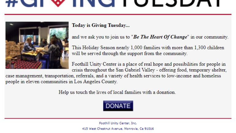 Donate to Foothill Unity Center on Giving Tuesday