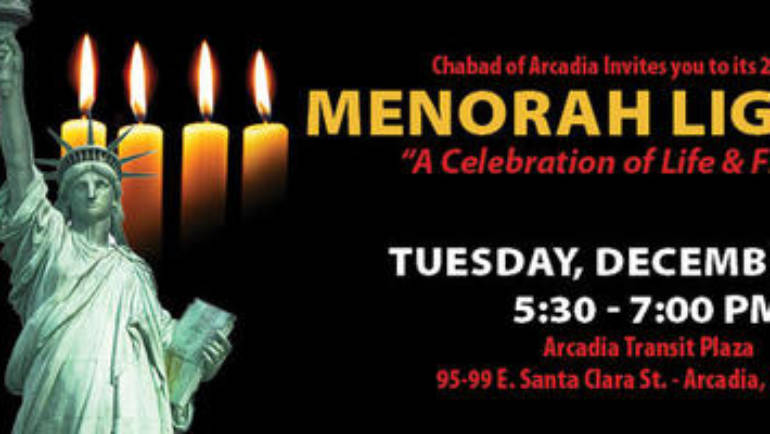 Menorah Lighting at Arcadia Transit Plaza