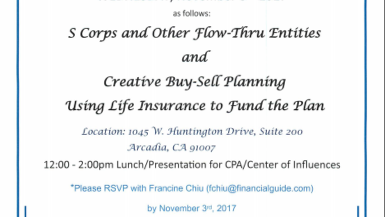 MassMutual seminar: S Corps, Flow-Thru Entities and Creative Buy/Sell Planning