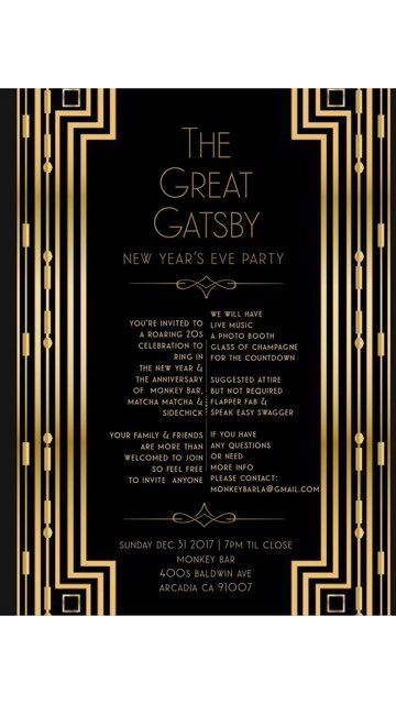 the great gatsby new years party at monkey bar