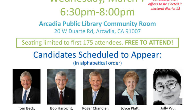 2018 Arcadia City Council Candidate Forum