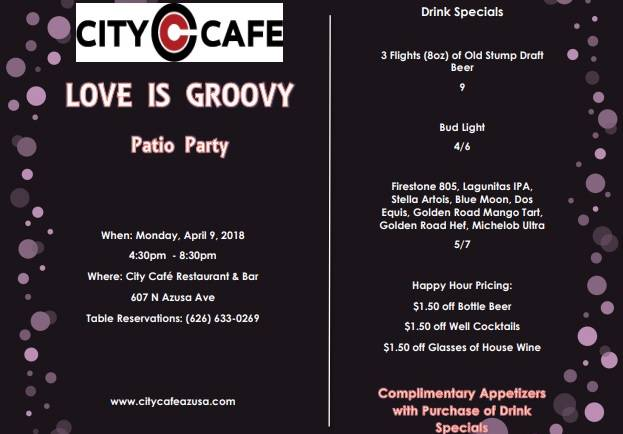 City Cafe Love is Groovy Patio Party