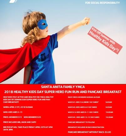 Santa Anita YMCA Super Hero Fun Run & Pancake Breakfast