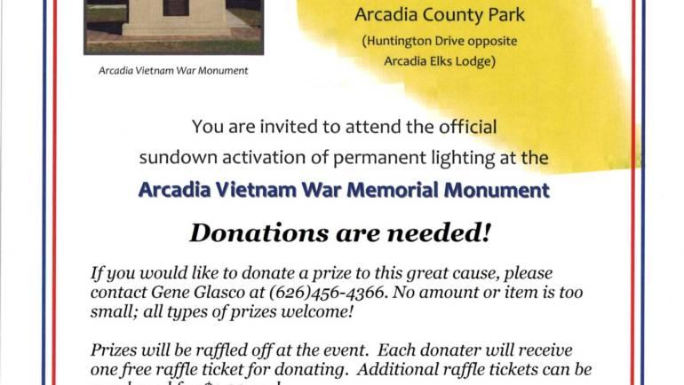 Raffle Prizes Needed for Arcadia Vietnam Memorial Reception