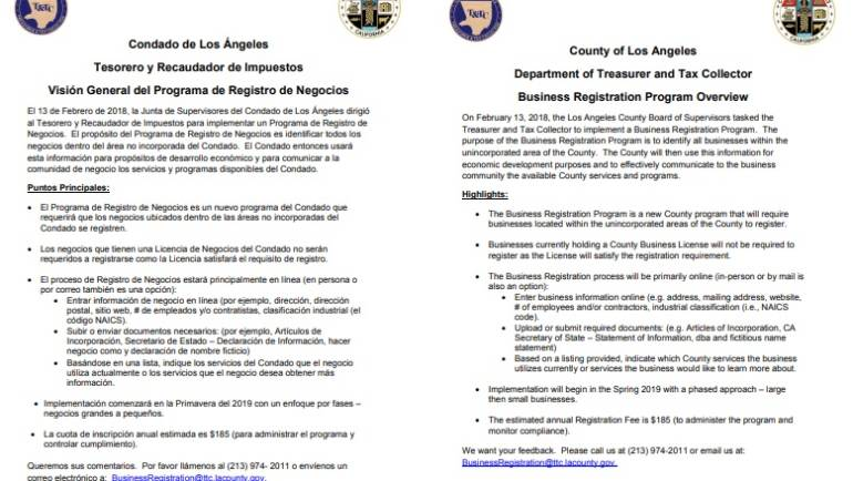 County of Los Angeles Business Registration Program Overview