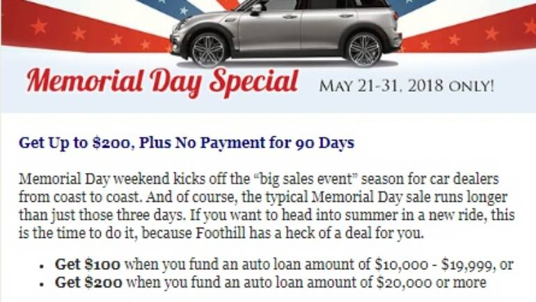 Foothill Credit Union Memorial Day Special