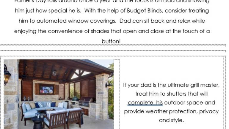 Give Dad a Space of his own with Budget Blinds