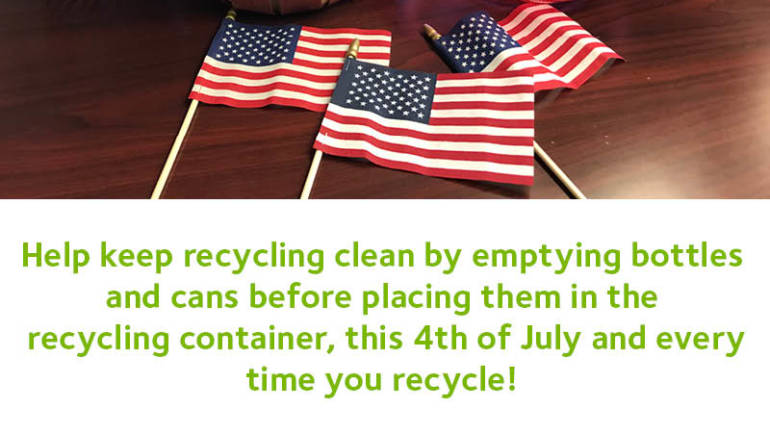 July 4th Recycling reminder from Waste Management