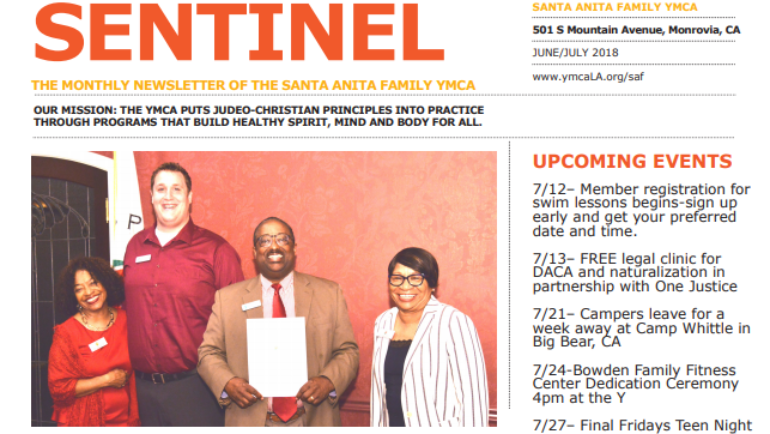 Santa Anita Family YMCA Sentinel