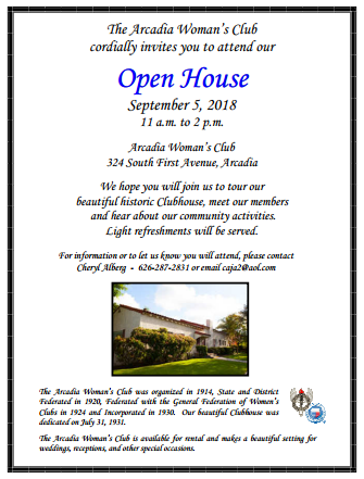Arcadia Woman's Club Open House