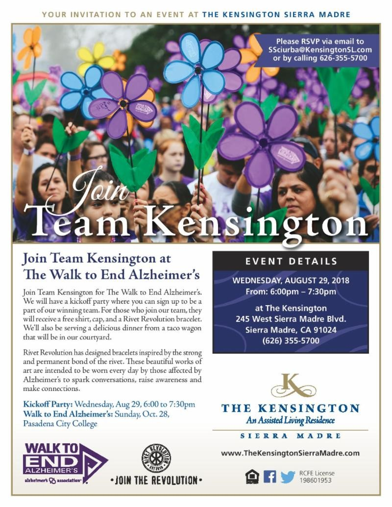 Join Team Kensington at the Walk to end Alzheimer's