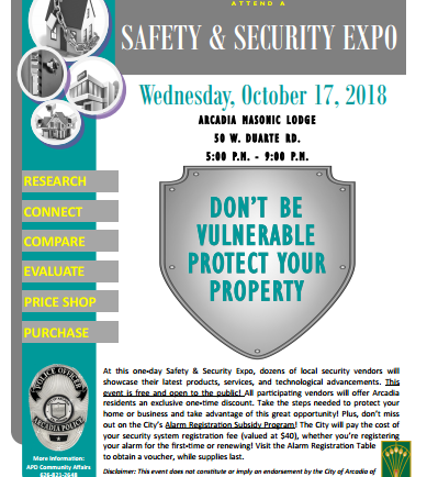 Arcadia PD Safety and Security Expo