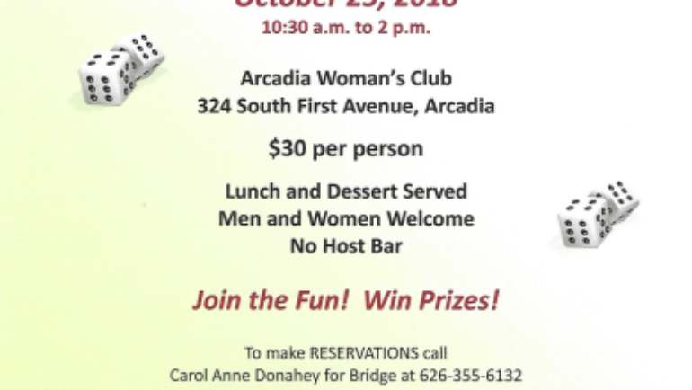 Arcadia Woman's Club Bridge and Bunco Party