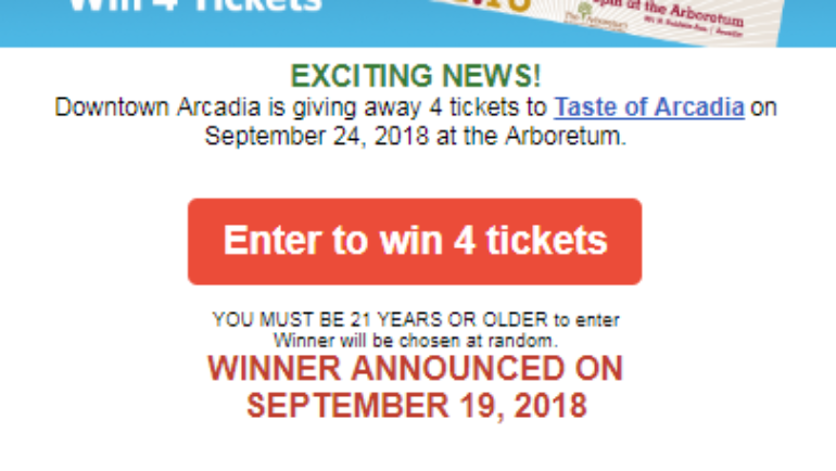 Win 4 Tickets to Taste of Arcadia from Downtown Arcadia