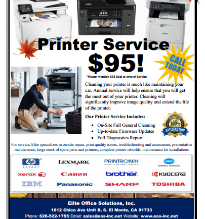 Printer Service for $95 from Elite Office Solutions