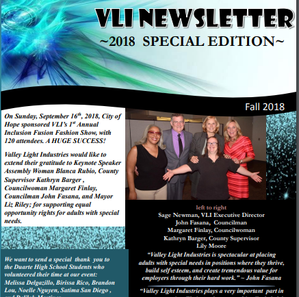 Valley Light Industries 2018 Special Edition Newsletter