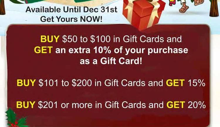 Paco's Mexican Restaurant holiday gift card promo