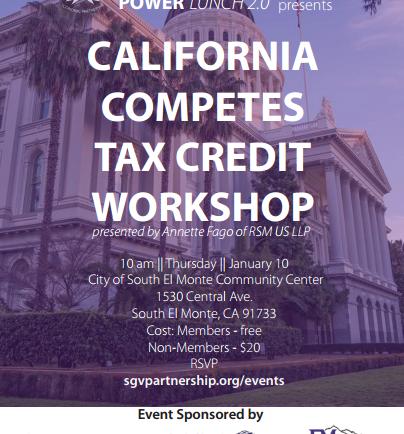 San Gabriel Valley Economic Partnership Tax Credit Workshop