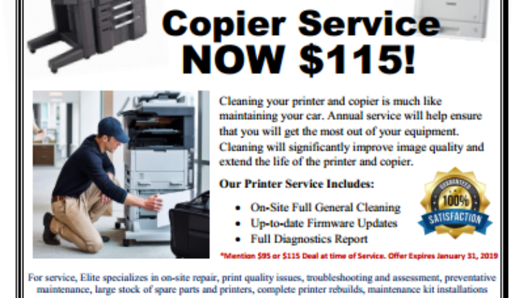 Start 2019 off with Elite Office Solutions printer & copier service