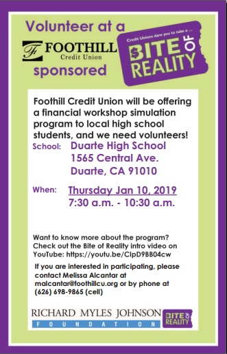 Volunteer at Foothill Credit Union's Financial Workshop