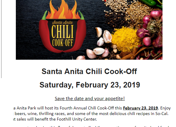 Santa Anita Chili Cook Off to Benefit Foothill Unity Center