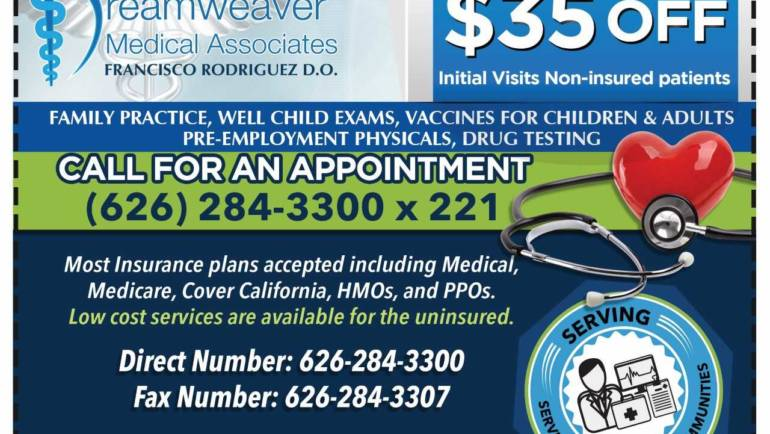 Get $35 off initial visits for non-insured patients at Dreamweaver Medical and Francisco Rodriguez
