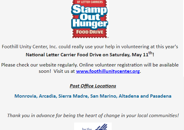 Stamp out Hunger with Foothill Unity Center