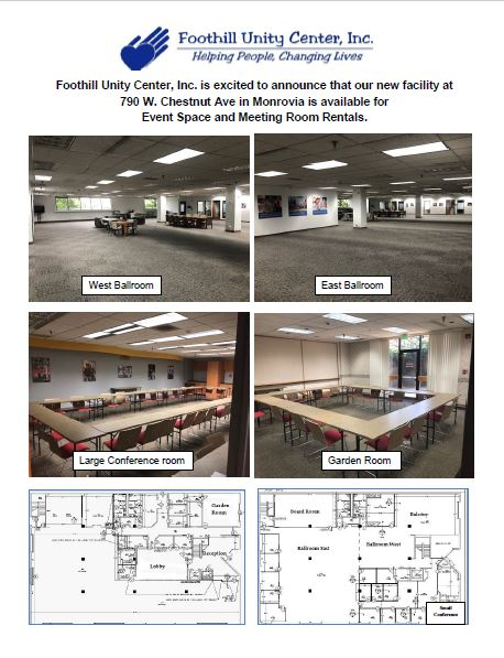 Foothill Unity Center is available for Rentals